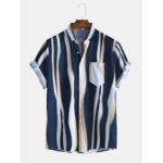 New              Mens Fashion Plain Color Striola Chest Pocket Short Sleeve Casual Shirts