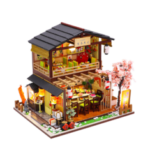 New              Homeda M2011 Japanese-style Sushi Restaurant DIY Doll House Assembly Cabin Creative Toy With Dust Cover Indoor Toys
