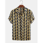 New              Mens Cotton Abstract 3D Geometric Print Casual Short Sleeve Shirt