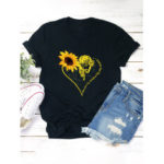 New              Women Casual Basic Sunflower Printed Short Sleeve O-neck T-Shirt
