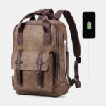 New              Men Multifunction USB Charging Bag Solid Large Capacity Backpack