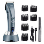 New              Hair Clippers for Men,Hizek Beard Trimmer Professional Cordless Hair Trimmer with 3 Adjustable Speeds,LED Display,USB Charging Stand and 6 Attachment Guide Combs,for Family Use