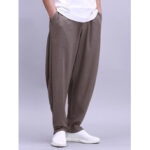 New              Mens Solid Cotton Lightweight Breathable Wide Leg Loose Yoga Casual Pants