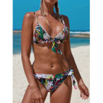New              Women Multicolor Pritnt Triangle Bow-Knot Top String Hot Swimwear Bikini