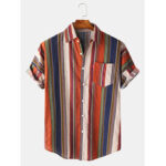 New              Mens Colorful Stripe Button Up Turn Down Collar Short Sleeve Casual Shirts