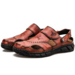 New              Men Cowhide Spicing Breathable Hollow Out Non-slip Casual Sandals