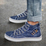 New              Women Denim Comfy Wearable Casual Sports High Top Flats
