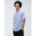 New              Mens Casual Cotton Striped Print Leisure Loose Collar Short Sleeve Henley Shirts