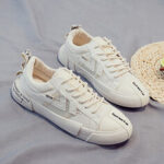 New              Women Canvas Lace Up Front Slip Resistant Casual Court Sneakers