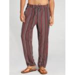 New              Mens Ethnic Stripe Print Elastic Drawstring Casual Straight Pants