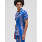 New              Men Colorful Stripe Print Button Up Faux Silk Pajama Set Revere Collar Short Sleeve Home Sleepwear