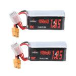New              2Pcs URUAV 14.8V 1050mAh 95C 4S Lipo Battery XT60 Plug for FPV RC Drone