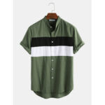 New              Mens 100% Cotton Light Breathable Color Block Patchwork Short Sleeve Shirts