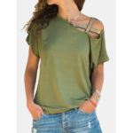 New              Women Casual Cold Shoulder Solid Blouse