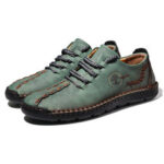 New              Men Hand Stitching Microfiber Soft Sole Casual Leather Shoes