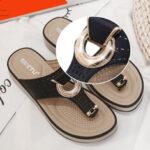 New              Women Metal Decor Hollow Comfy Clip Toe Beach Casual Sandals