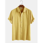 New              Mens 100% Cotton Solid Color Chest Pocket Casual Short Sleeve Shirts