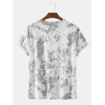 New              Men Cotton Tie Dye Grey Crew Neck Short Sleeve Casual T-Shirts
