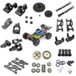 New              Wltoys 144001 1/14 Upgrade Metal RC Car Parts Swing Arm C Seat Connector Steering Cup Rear Wheel Seat Rod Gear Black