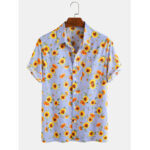 New              Cotton Sunflower Printed Striped Casual Short Sleeve Hawaii Holiday Shirts For Men Women