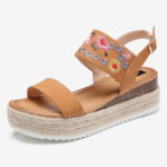 New              Women Espadrilles Embroidery Flowers Buckle Strap Slingback Platform Sandals