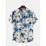 New              Men Clematis Chinensis Floral Print Chest Pocket Short Sleeve Turn Down Collar Hawaii Style Shirts