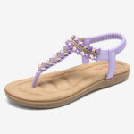 New              LOSTISY Women Bohemia Beading Elastic Band Slip On Casual Summer Beach Flat Sandals