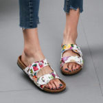 New              Women Double Buckle Flowers Pattern Strap Cork Footbed Slide Sandals