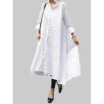 New              Women Solid Color Lapel Long Sleeve Casual Irregular Hem Shirt Dress