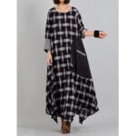 New              Plaid Stitching O-neck Long Sleeve Casual Maxi Dress With Pocket