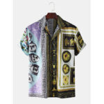 New              Mens Characters Bandana Print Baroque Loose Short Sleeve Shirts
