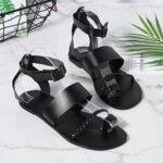 New              Women Summer Roman Black Clip Toe Buckle Strap Flat Sandals