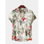 New              Men Casual Floral Print Turn Down Collar Hawaii Beach Short Sleeve Shirts