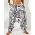 New              Mens Ethnic Style Multi Funny Patterns Printing Loose Fit Elastic Casual Pants