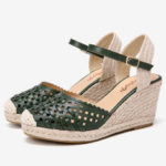 New              LOSTISY Women Weaved Hollow Out Espadrilles Wedge Sandals