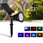 New              Solar Powered Spot 7 Color Adjustable LED Spotlight IP65 Outdoor Security Lawn Light Split Lamp