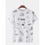 New              Mens Funny Cartoon Graffiti Printed Short Sleeve Solid Color T-Shirts