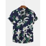 New              Men Fashion Lily Floral Print Turn Down Collar Hawaii Beach Short Sleeve Shirts