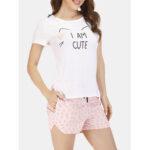 New              Summer Women Cute Cats Soft Short Sleeve Casual Pajamas Sets