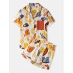 New              Women Colorful Graffiti Print Revere Collar Pocket Button Up Casual Short Sleeve Pajama Set