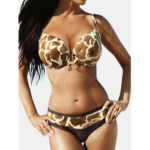 New              Plus Size Women Print Underwire Bikini Back Buckle Backelss Bikini