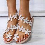 New              Women Flower Decro Bohemia Beading Toe Ring Casual Beach Flat Sandals