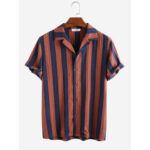 New              Mens 100% Cotton Vertical Striped Casual Short Sleeve Shirts