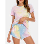 New              Women Tie Dye Pajamas Set Two Pieces Short Sleeve O-Neck Softies Summer Sleepwear