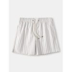 New              Mens Cozy Stripe Loungewear Shorts Drawstring Quick Drying Loose Mini Shorts