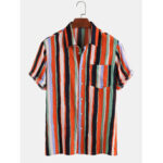 New              Mens Colorful Striped Turn Down Collar Short Sleeve Shirts