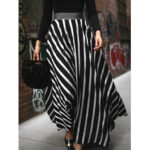 New              Stripe Print Elastic Waist Back Zipper Leisure Maxi Skirts