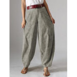 New              Women High Waist Button Solid Color Harem Pants with Pocket