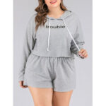 New              Plus Size Women Hooded Letter Print Casual Long Sleeve High Rise Pajama Set
