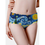 New              Seamless Women Oil Painting Starry Sky Print Mid Waisted Breathable Panties